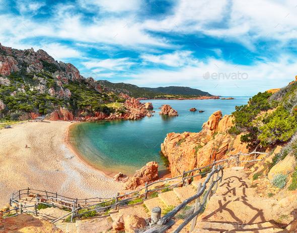 Breathtaking view of Li Cossi beach on Costa Paradiso resort. - Stock Photo - Images