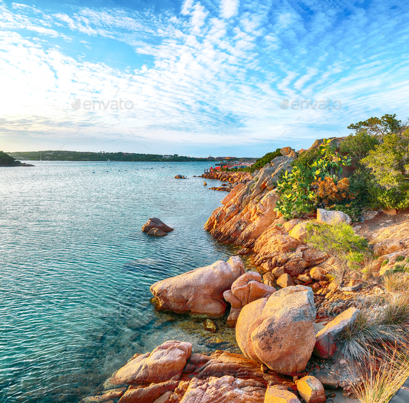 Gorgeous view of Porto Cervo at sunset - Stock Photo - Images