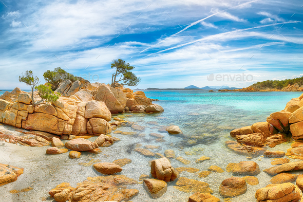 Breathtaking view of Capriccioli beach in Costa Smeralda. - Stock Photo - Images