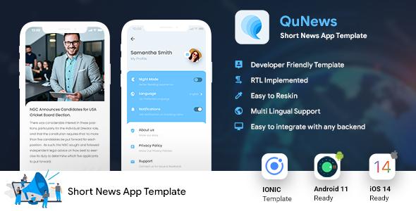 Short News Android App Template + iOS App Template | IONIC 5 | News App | QuNews