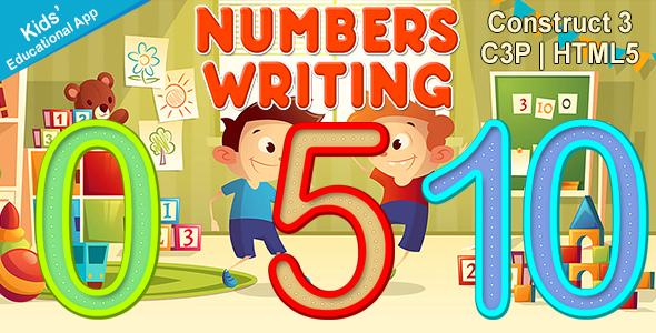 Numbers Writing App (Construct 3   C3P   HTML5) Kids Educational App