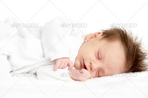 Peaceful Sleeping Newborn Baby - Stock Photo - Images