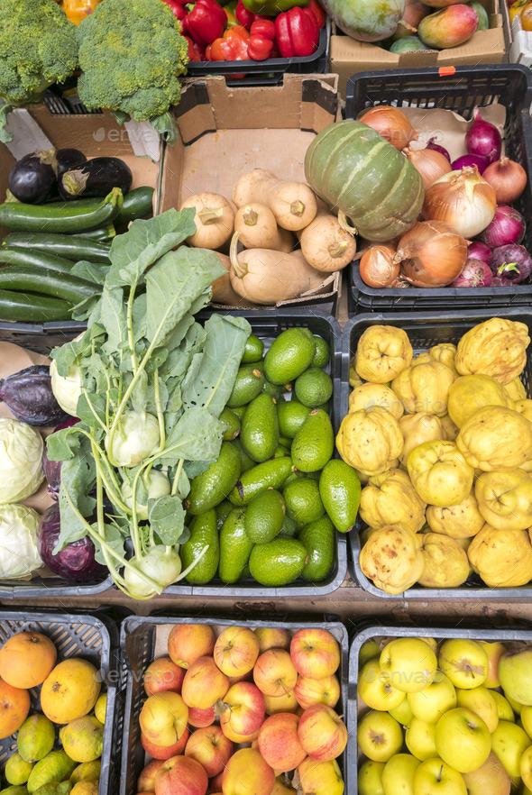 Top view of selections of healthy fruits and vegetables - Stock Photo - Images