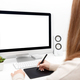 Freelancer or business woman working at her desk - PhotoDune Item for Sale