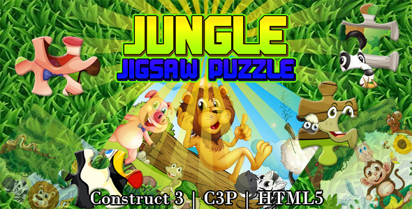 Jungle Jigsaw Puzzle Game (Construct 3   C3P   HTML5)