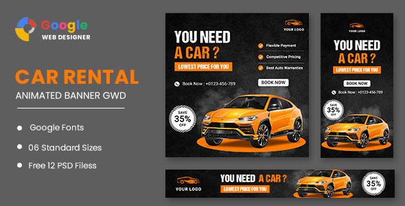 Rent A Car HTML5 Banner Ads GWD