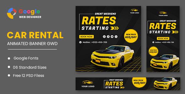 Rent Car HTML5 Banner Ads GWD