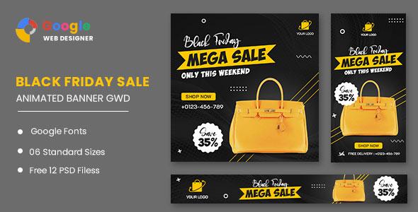 Black Friday Mega Sale HTML5 Banner Ads GWD