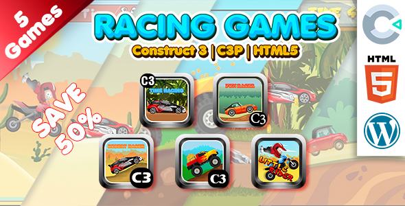 Racing Games Collection 01 (Construct 3 | C3P | HTML5) 5 Games