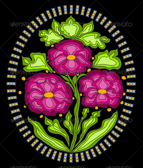 Vector Ornament with colorful Flowers - Decorative Vectors