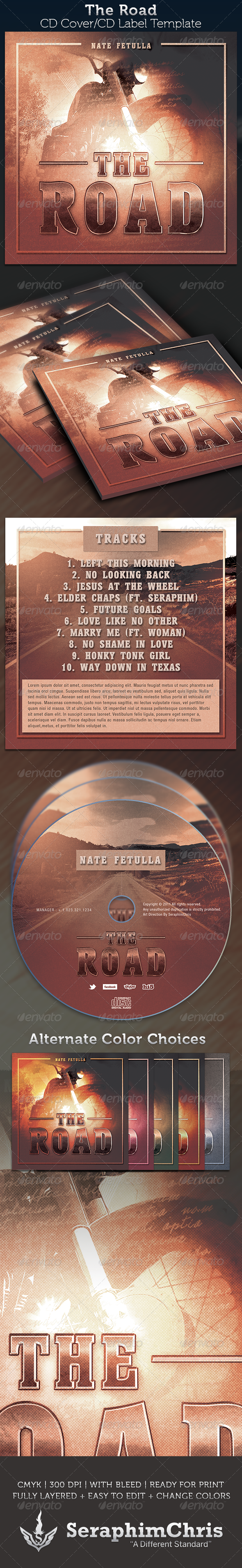 The Road: CD Cover Artwork Template - CD & DVD Artwork Print Templates
