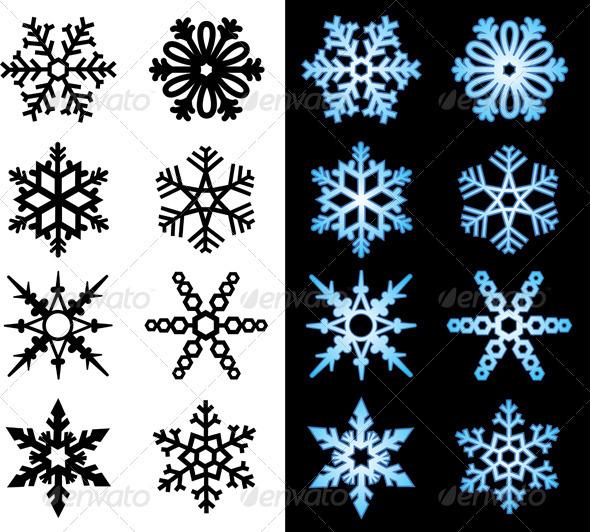 Snowflake Icons - Seasons Nature