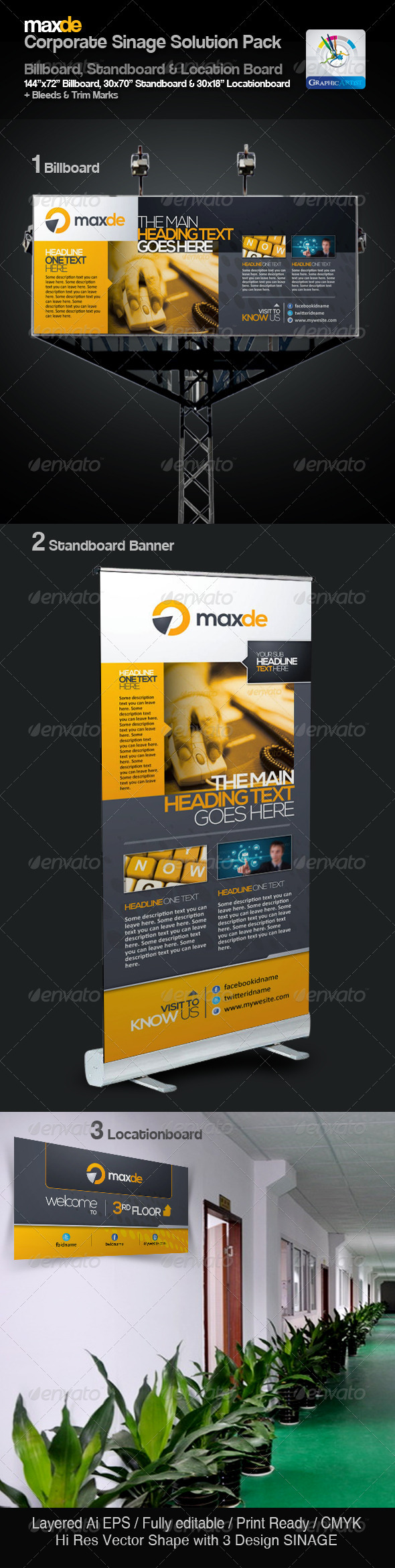 Maxde Clean Sinage Solution Pack - Signage Print Templates