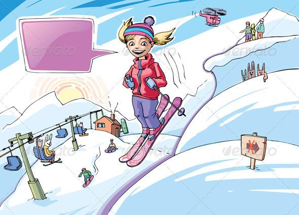 Freeriding Girl - Sports/Activity Conceptual