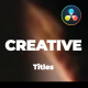 Creative and Modern Titles For DaVinci Resolve - VideoHive Item for Sale
