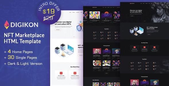 Digikon - NFT Digital Asset Marketplace HTML Template