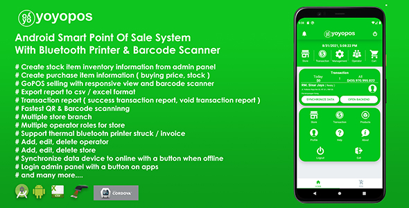 YoyoPOS - Point Of Sales for Android APP with Barcode Scanner and API