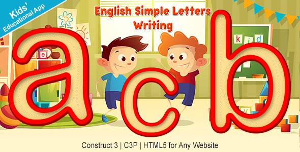 English Simple Letters Writing App (Construct 3   C3P   HTML5) Kids Educational Game