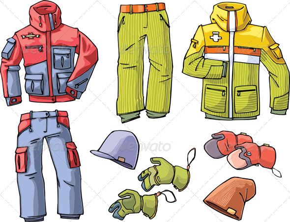 Clothes for Skiing and Snowboarding - Objects Vectors