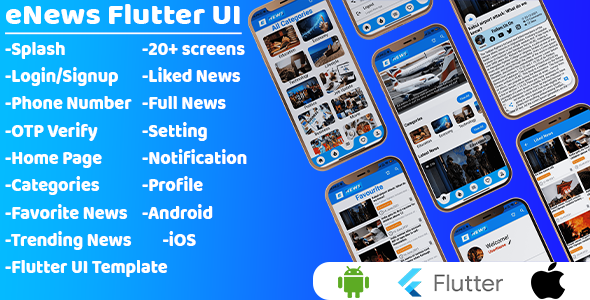 eNews App - Flutter News App UI Template