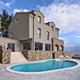 exteriors view of a modern villa in the foreground the swimming pool - PhotoDune Item for Sale