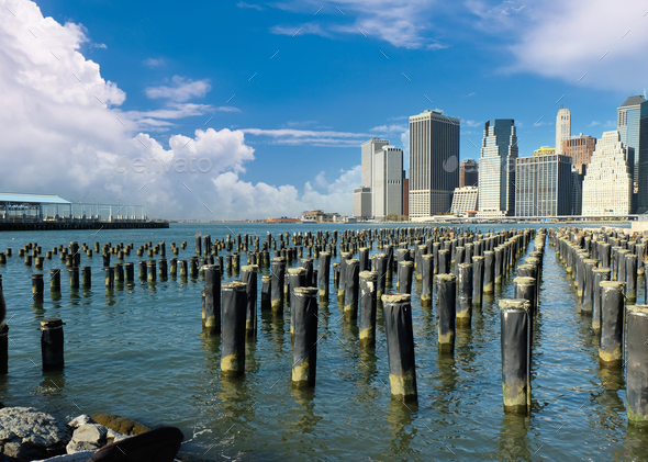 Lower Manhattan skyline view from Brooklyn - Stock Photo - Images