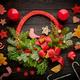 Christmas wreath on dark wooden background - PhotoDune Item for Sale