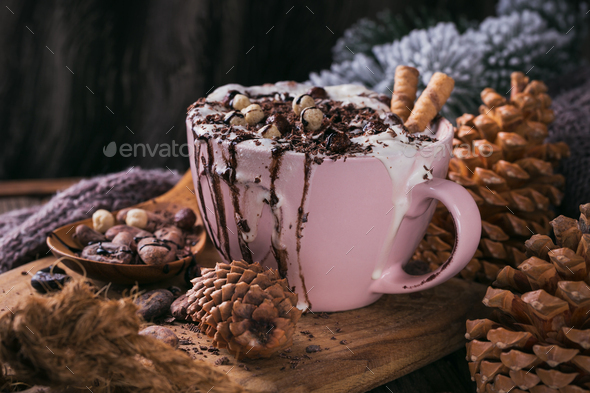 Christmas or New Year composition with hot chocolate or cocoa drink with whipped cream - Stock Photo - Images