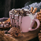 Christmas or New Year composition with hot chocolate or cocoa drink with whipped cream - PhotoDune Item for Sale