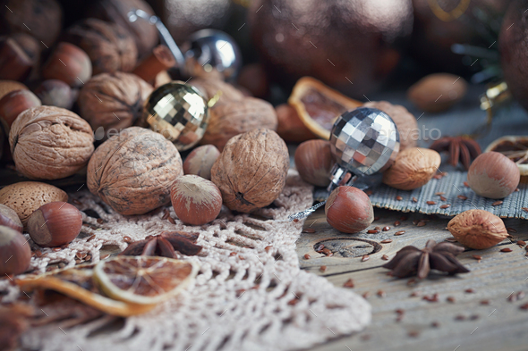 Variety of nuts in Christmas and New Year decoration - Stock Photo - Images