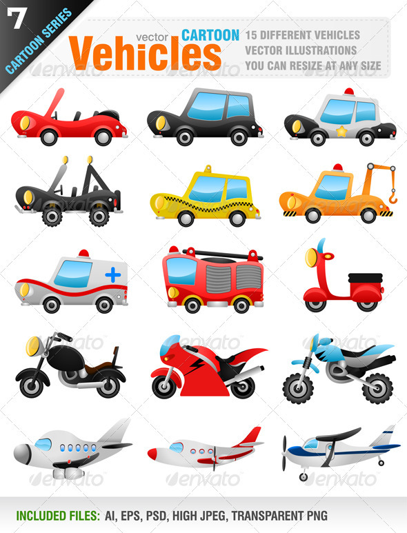 15 Vector Vehicles - Objects Vectors