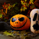 Halloween Stingy Jack pumpkins on dark rustic background - PhotoDune Item for Sale