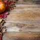 Thanksgiving or fall greeting with pumpkins, berries and fall leaves - PhotoDune Item for Sale