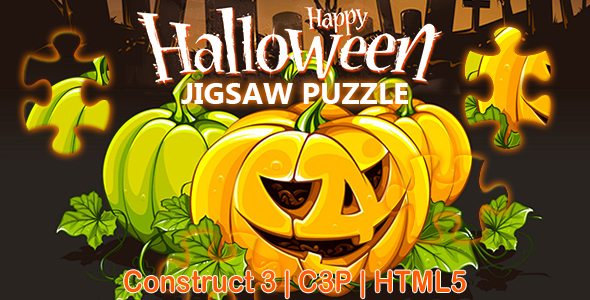 Happy Halloween Jigsaw Puzzle Game (Construct 3 | C3P | HTML5)