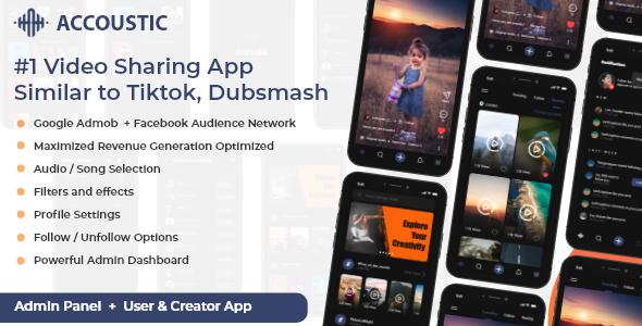 Flutter Video sharing app like tiktok dubsmash Clone - Acoustic