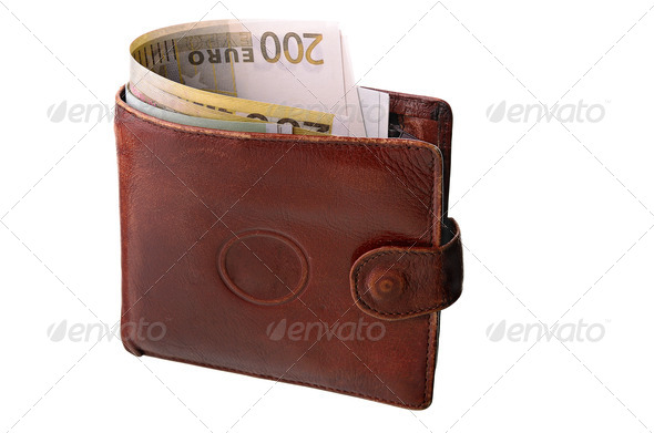 Monetary denominations in a purse - Stock Photo - Images