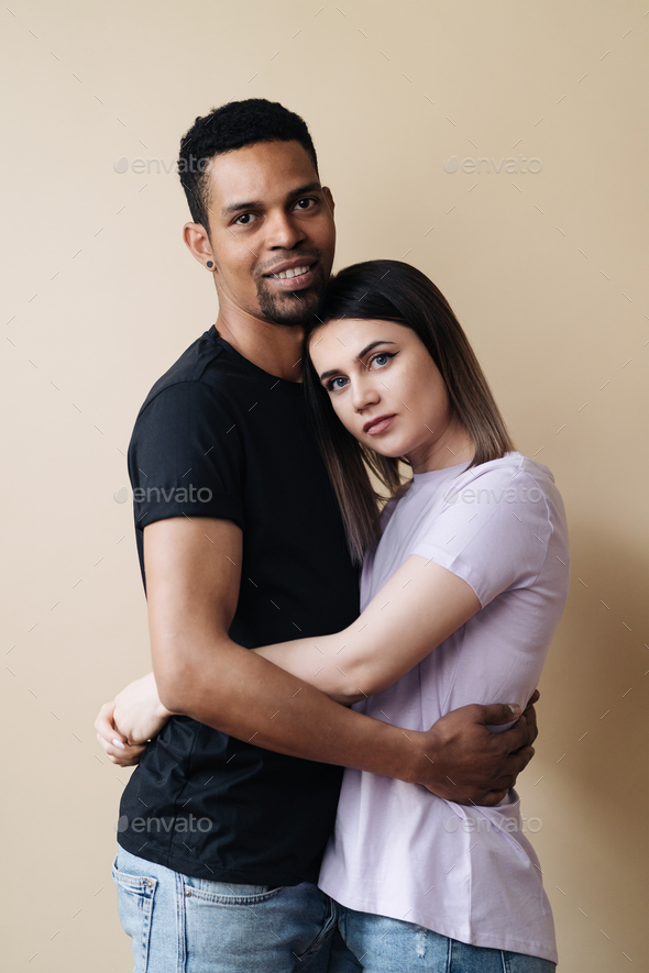 Afro american man caucasian woman black and white beautiful people mixed races portrait - Stock Photo - Images