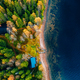 Aerial view of yellow and orange autumn forest with  cottage and wooden pier by blue lake. - PhotoDune Item for Sale