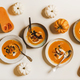 Pumpkin cream soup with sour cream, seeds and croutons - PhotoDune Item for Sale