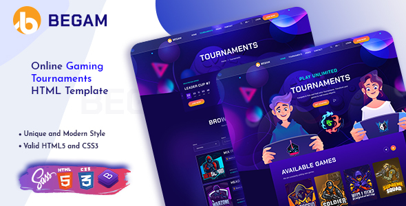 Incredible Begam - Online Gaming Tournaments HTML Template