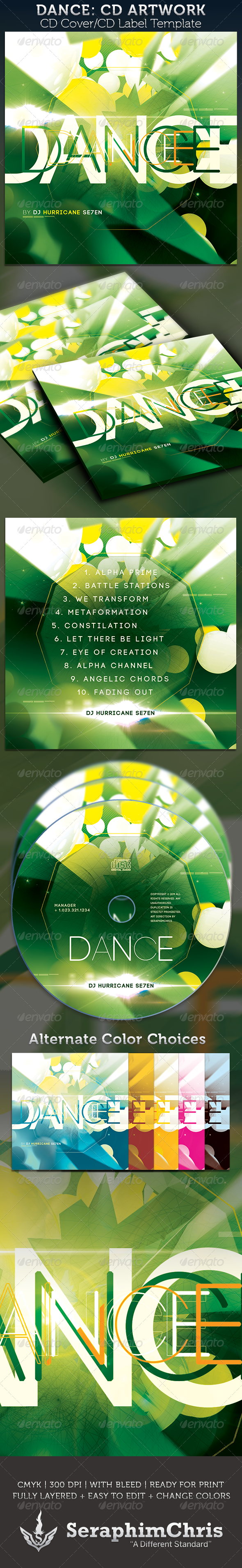 Dance: CD Cover Artwork Template - CD & DVD Artwork Print Templates