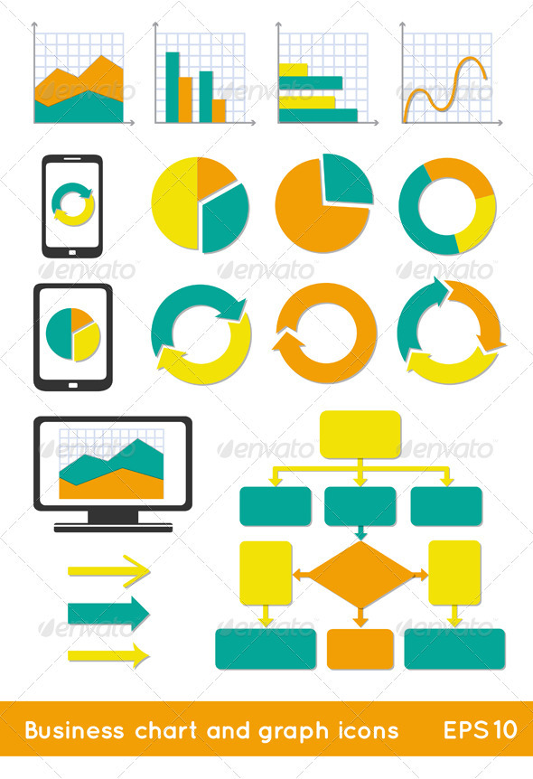 Business Chart And Info Graph Icons - Web Elements Vectors