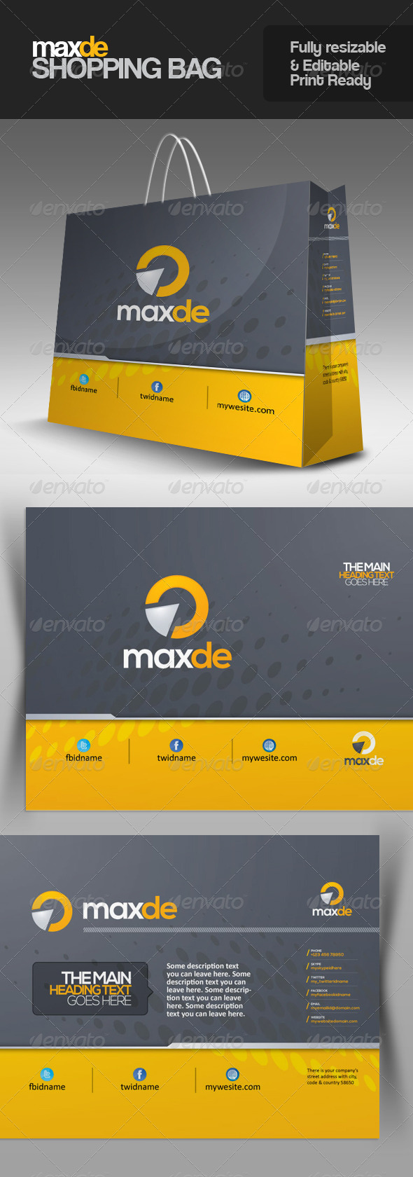 Maxde Multipurpose Shopping Bag - Packaging Print Templates