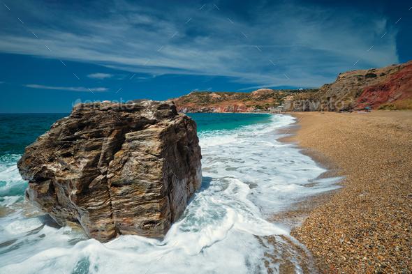 Paleochori beach, Milos island, Cyclades, Greece - Stock Photo - Images