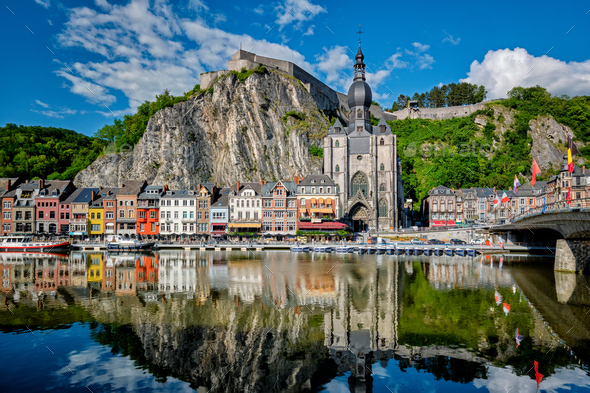 View of picturesque Dinant town. Belgium - Stock Photo - Images