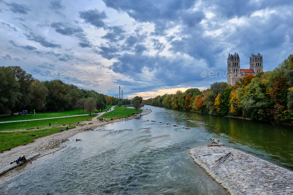 Isar river, park and St Maximilian church from Reichenbach Bridge. Munchen, Bavaria, Germany - Stock Photo - Images
