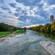 Isar river, park and St Maximilian church from Reichenbach Bridge. Munchen, Bavaria, Germany - PhotoDune Item for Sale