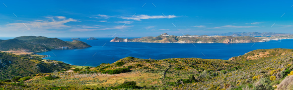 Aegean sea near Milos island in Greece - Stock Photo - Images