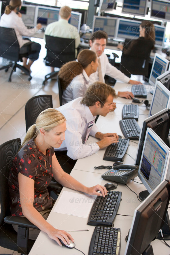 High Angle View Of Stock Traders At Work - Stock Photo - Images