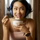 Woman Enjoying Tasty Breakfast - PhotoDune Item for Sale